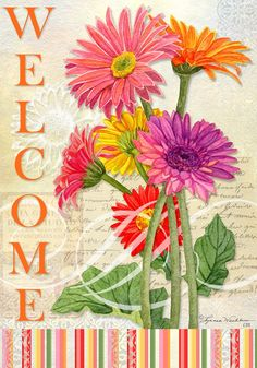Welcome Gerbera Outdoor Flag , 1513 CDC | Lang