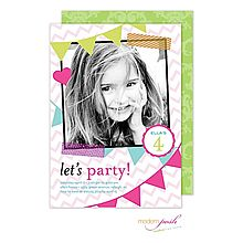 Photo Invitation for your sweet sixteen, bat mitzvah, birthday, or any event! Festive Party Banners and chevron stripes in fun colors are featured on this party invitation. Use any photo- use any wording. Create the perfect invitation for your party  from Little Angel Announcements