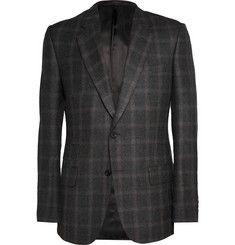 KingsmanCharcoal Brushed-Wool Window-Pane Checked Blazer