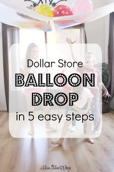 DIY Dollar Store Balloon Drop Create an awesome Balloon Drop in just 5 easy steps with Dollar Store supplies in minutes! Use this for New Year's Eve, birthday parties and celebrations! New Years With Kids, Family New Years Eve, New Years Eve Games, New Years Eve Day, New Years Party, New Years Eve Party Ideas For Family, New Years Eve Toddler, New Years Eve Menu, New Year Diy
