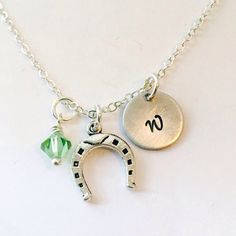 Horseshoe Necklace, horse shoe charm, initial necklace, initial hand stamped, personalized, monogram, Horse shoe charm