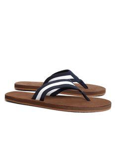 Brooks Brothers Men/'s Flip Flop Brown /& Green Sandals