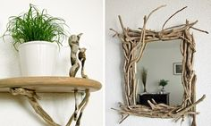 wall shelf and mirror frame made of driftwood