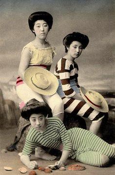 THREE GEISHA WITH HATS AND SHELLS -- Posing as Bathing Beauties by Okinawa Soba