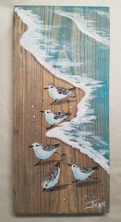 Read the full title Sanderling art - beach painting - beach house - distressed wood - plaque - sandpipers - coastal decor - vertical wall art - whitewash finish