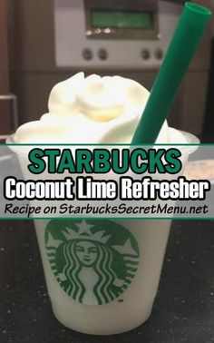 Starbucks Coconut Lime Refresher - - The next time you're in the mood for a cool lime refresher, add some tropical flair to it! Low Carb Starbucks Drinks, Starbucks Secret Menu Items, Starbucks Hacks, Starbucks Secret Menu Drinks, Starbucks Caramel, Starbucks Coffee, Starbucks Refreshers, Keto Coffee Recipe, Coffee Recipes