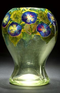 Tiffany Studios: An Important Morning Glory Paperweight Vase, circa 1915. Favrile glass, engraved 3309J L.C. Tiffany-Favrile.