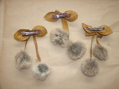 Gray Brown Rabbit and Leather Fur Bow Barrette Hairpiece Decoration - Knackster