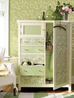 Darling refurbished armoire anchors this home's living space by echoing the color scheme determined by the wallpaper and furnishings. Its combination of drawers and closet space offers the perfect solution for small-space storage. Refurbished Furniture, Repurposed Furniture, Furniture Makeover, Painted Furniture, Decoupage Furniture, Armoire Makeover, Wardrobe Makeover, Armoire Dresser, Fabric Covered Furniture