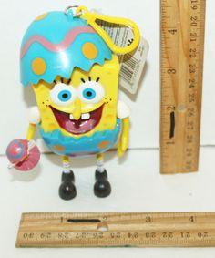 "SPONGEBOB SQUAREPANTS CLIP-ON EASTER EGG 4.5"" CANDY DISPENSER TOY FIGURE 2006 #Nickelodeon"