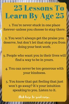 25 Lessons You Learn By