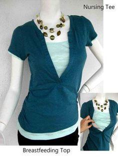 JESSI Nursing Top / Breastfeeding Top NEW / Nursing Tshirt/ GREEN Nursing Tops/ Maternity Clothes/ Free Shipping