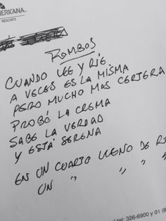 Manuscrito de la canción 'Rombos'. #EternoCerati