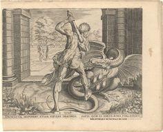 Hércules combatiendo al Dragón en el jardín de las Hespérides - Grabado de Cornelis Cort (1533-1578) según diseño de Frans Floris (1516-1570).
