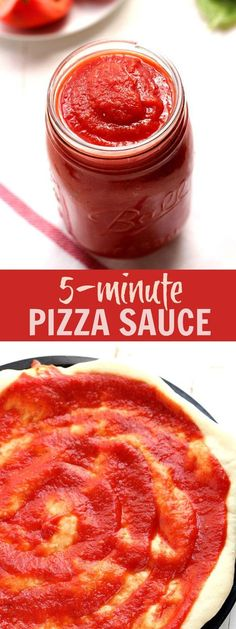 5-Minute Pizza Sauce - super simple homemade pizza sauce that takes only few minutes to whip up in the blender! It's delicious and takes your pizza to a whole new level! | crunchycreamysweet.com