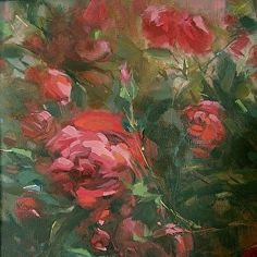 "Romance Red by Mary Maxam Oil ~ 10"" x 10"""