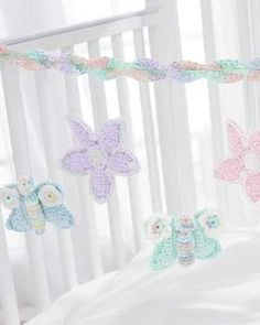 Free pattern for baby mobile incorporating flowers and butterflies. SO sweet! xo
