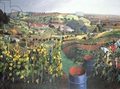 Anna Teasdale, Allotments, St Wertburghs, Bristol (acrylic on canvas)