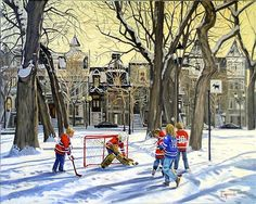 Scènes de Hockey Acrilic Paintings, Old Paintings, Christmas Paintings On Canvas, Winter Images, Winter Painting, Ice Hockey, Hockey Mom, Christmas Scenes, Sports Art