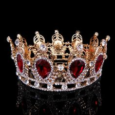 6cm High Ruby Red Sparkling Crystal Gold King Crown Wedding Prom Party  Pageant 4223007c631b