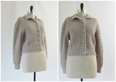 1930s Dress Sweater  1940s Dress Sweater  Vintage Hand Knit Cardigan in Grey Brown