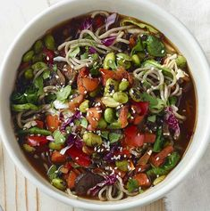 """Recently, in keeping with the """"bone broth"""" trend, Panera Bread rolled out a few new noodle bowls. While most include meat or eggs, one of the bowls is a Soba Noodle Bowl with Edamame—and, as far. Broth Bowls Recipes, Whole Food Recipes, Cooking Recipes, Vegetarian Recipes, Healthy Recipes, Vegetarian Options, Vegan, Vegetables, Meals"""