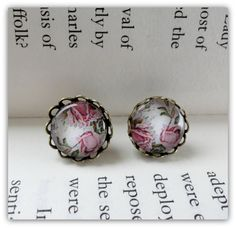 Filigree Floral glass earrings by littleittybitty on Etsy, $10.00