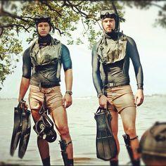 UDT-28 Bravo Team, swim buddies [reenactors]. Equipment: UDT vests, scuba pro jet fins, aqua lung master dive knife, RJE Int'l Tac-100 nav board, Zodiac FC-470.