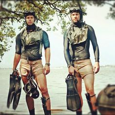 UDT-28 Bravo Team, swim buddies [reenactors]. Equipment: UDT vests, scuba pro jet fins, aqua lung master dive knife, RJE Int'l Tac-100 nav board, Zodiac FC-470.