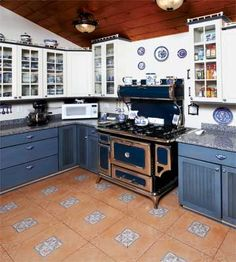 """Pinner says: """"Blue Willow China - inspired kitchen. How cool is this stove?!""""  It's a Heartland Range in cobalt, available at www.heartlandapp.com"""