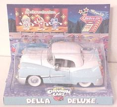 Collectible CHEVRON Cars DELLA DELUXE Cousion to PROMISE by Chevron. $9.00. Della is decorated with lots of deliciously deluxe details. Open her hood and take a look at her beautiful, clean engine!. Removable roof, Hood opens, Doors open, Eyes move side to side. fabulous fins, triple tail lights and a pop off top!. Safety tested and recommended for children ages 3 and over.. If you're a car like Della Deluxe, you expect nothing but the grandest wherever you go. Della i...