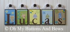 Children's Baby Name Decor . Hanging Name by OhMyButtonsAndBows, $22.00