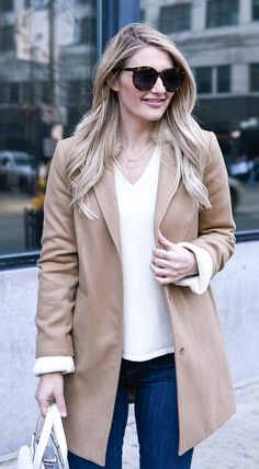 Love this chunky sweater with a structured caramel coat!