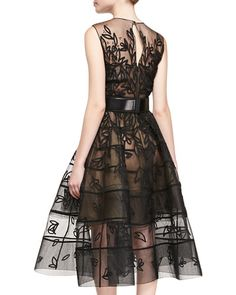 Oscar de la Renta - Embroidered Mesh Flare Dress