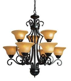 """Wrought Iron Chandelier H30"""" W28"""" 9 Lights - A84-451/9"""