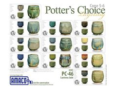 The Potter's Choice glaze series was designed with the potter in mind! These stunning glazes add fluid colors and effects to smooth or textured ware, with optimal results at Cone 5/6. To use these glazes is to step into different ceramic glaze traditions of many cultures throughout history. Check out our PC Layering charts to see all the amazing results you can try in your own studio!   •Reduction Effects in Oxidation  •Variety of Colors and Surfaces •Cone 5 / 6 •Limitless Layer...