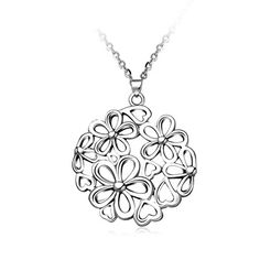 Hollow Flower 316L Stainless Steel Pendant Necklaces, Stainless Steel ColorPSize: about 17.5' long, pendant: 42x38mm.