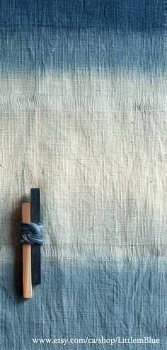 Shibori hand-dyed wall hanging with cedar blocks and Japanese knot, home decor (Little m Blue)