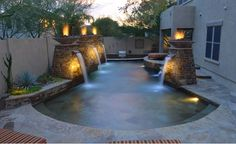 Swimming pool fountains fire features and water feature. Swimming Pool Fountains, Swimming Pool Designs, Swimming Pools, Piscine Diy, Backyard Pool Landscaping, Landscaping Ideas, Pool Garden, Pool Picture, Water Features In The Garden