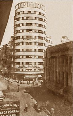 City Block/Adriatica/Tehnoimport (Bucureşti) Cylindrical tower block was designed in 1935 by architect H. Old Pictures, Old Photos, Little Paris, Archi Design, Bucharest Romania, Tower Block, Architecture Old, Old City, Time Travel