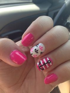 Girly Nautical Nails! I need to do this in blue white and yellow to make my new swim suit <3