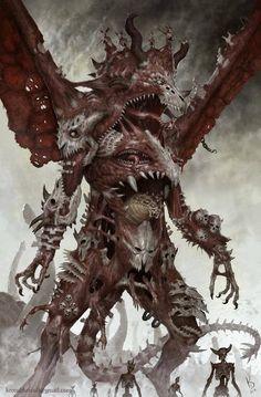 """scifi-fantasy-horror: """" Flesh Dragon by Darko Kreculj """" Dark Fantasy Art, Fantasy Demon, Fantasy Monster, Dark Art, Sci Fi Fantasy, Monster Concept Art, Monster Art, Dark Creatures, Mythical Creatures"""