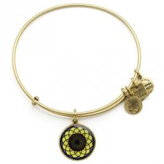 Alex and Ani's Sunflower bangle, 20% of sales will be donated to the Alzheimer's Association. This special flower is unexpectedly strong and optimistic, as it is constantly rising up from the ground, turning its face toward the sun. A bright symbol of faith, the sunflower exudes happiness, from its vibrant petals to its resilient roots.