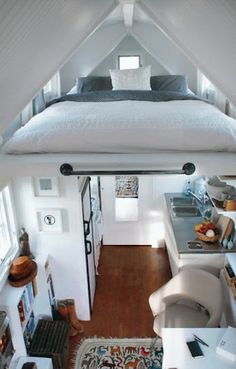 tiny living space with loft