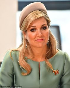 Queen Maxima is pictured above on her visit to the European Energy Exchange (EEX) which took place during the royal couple's tour of Leipzig