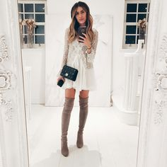 White lace dress, black bag and taupe over the knee boots