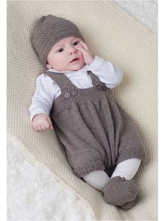 Knitting pattern for baby overalls romper with matching hat and booties from Baby Layettes Knit Book (Annies affiliate link)