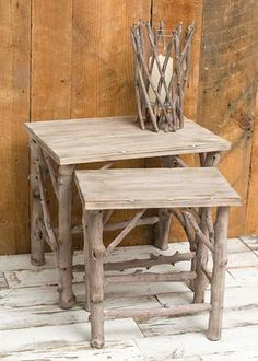 Sam's driftwood idea: I like the candle holder!!! Wood Nesting Tables