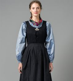 Bilde av Blå silkeskjorte Folk Fashion, High Neck Dress, Culture, Costumes, Folk Style, Norway, Outfits, Clothes, Dresses
