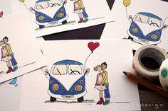 Bullikarte Love Bus von Ladedesign auf Etsy Hippie Man, Illustration, Etsy, Vintage, Wedding, Paper Mill, Graphic Prints, Invites Wedding, Custom Cars